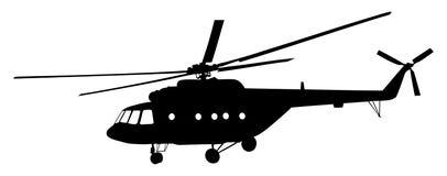 Silhouette d'hélicoptère Couperet dans la mission d'air Transporteur militaire Photos libres de droits