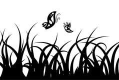 Silhouette d'herbe Photo libre de droits