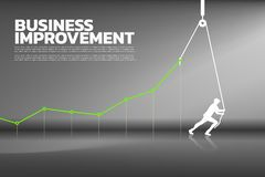 Silhouette d'homme d'affaires tirer vers le haut le graphique de gestion avec la corde et la bobine illustration stock