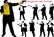 Silhouette d'homme armé Images libres de droits