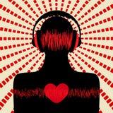 Silhouette d'homme avec l'écouteur Photographie stock