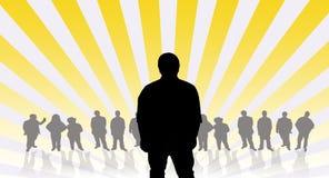Silhouette d'homme avec le fond de gens photos libres de droits
