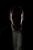 Silhouette d'homme d'affaires de mystère image stock