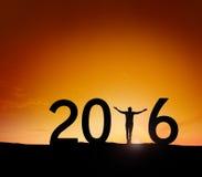 Silhouette 2016 d'homme de lever de soleil Photos stock