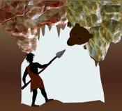 Silhouette d'homme des cavernes combattant avec un ours Photo stock