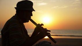 Silhouette d'homme supérieur jouant la cannelure en bambou sur la plage au coucher du soleil banque de vidéos