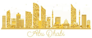 Silhouette d'or d'horizon d'Abu Dhabi City illustration stock