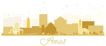 Silhouette d'or d'horizon d'Ames Iowa illustration stock