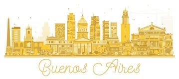 Silhouette d'or d'horizon de Buenos Aires Argentine illustration de vecteur