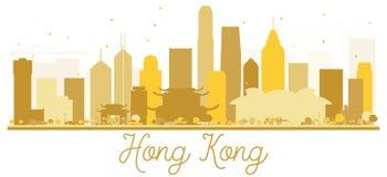 Silhouette d'or d'horizon de Hong Kong City illustration libre de droits