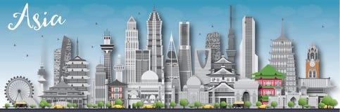 Silhouette d'horizon de l'Asie avec différents points de repère Photographie stock libre de droits