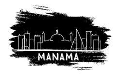 Silhouette d'horizon de Manama Bahrain Croquis tiré par la main Photo stock