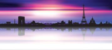Silhouette d'horizon de Paris de coucher du soleil Photos stock