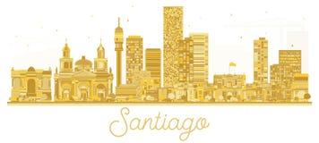 Silhouette d'or d'horizon de Santiago Chile City illustration de vecteur