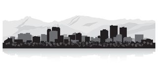 Silhouette d'horizon de ville d'Anchorage Alaska Illustration Stock