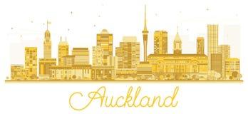 Silhouette d'or d'horizon de ville d'Auckland Nouvelle-Zélande Photos stock