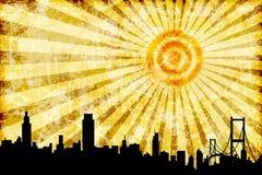 Silhouette d'horizon de ville avec brûler Sun illustration libre de droits