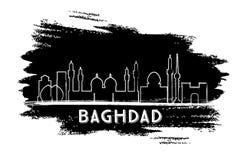 Silhouette d'horizon de ville de Bagdad Irak Croquis tir? par la main illustration stock