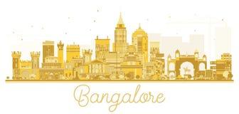 Silhouette d'or d'horizon de ville de Bangalore illustration stock