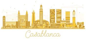 Silhouette d'horizon de ville de Casablanca Maroc avec les bâtiments d'or illustration stock