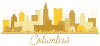 Silhouette d'or d'horizon de ville de Columbus Etats-Unis illustration stock