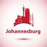Silhouette d'horizon de ville de Johannesburg Afrique du Sud Images stock