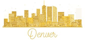 Silhouette d'or d'horizon de ville de Denver Etats-Unis illustration stock