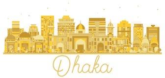 Silhouette d'or d'horizon de ville de Dhaka Bangladesh Images stock