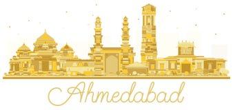 Silhouette d'or d'horizon de ville d'Inde d'Ahmedabad Illustration Stock