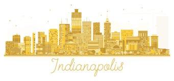 Silhouette d'or d'horizon de ville d'Indianapolis Etats-Unis Photographie stock