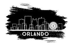 Silhouette d'horizon de ville d'Orlando Florida Croquis tiré par la main illustration de vecteur