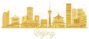 Silhouette d'or d'horizon de ville de Pékin illustration de vecteur