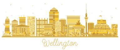 Silhouette d'or d'horizon de Wellington New Zealand City illustration libre de droits