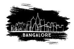 Silhouette d'horizon d'Inde de Bangalore Croquis tiré par la main illustration stock