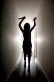 Silhouette d'horreur avec le couteau Images libres de droits