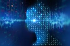 Silhouette d'humain virtuel sur la défectuosité de la technologie 3d de modèle de circuit Photographie stock