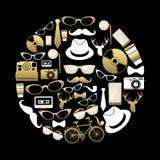 Silhouette d'icônes de concept de hippie de vintage en or Photo libre de droits