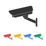 Silhouette d'illustration de vecteur des vidéos surveillance Image stock