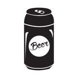 Silhouette d'isolement de canette de bière illustration stock