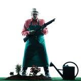 Silhouette d'isolement de jardinage d'homme de jardinier Image libre de droits