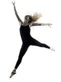 Silhouette d'isolement par femme de danse de danseuse de ballerine Photographie stock