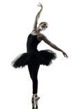 Silhouette d'isolement par femme de danse de danseuse de ballerine Photos stock