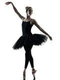 Silhouette d'isolement par femme de danse de danseuse de ballerine Photo stock