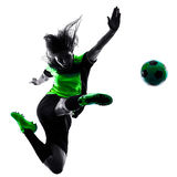Silhouette d'isolement par footballeur de femme Images stock