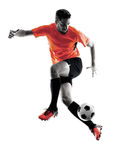 Silhouette d'isolement par homme de footballeur Photos libres de droits