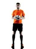 Silhouette d'isolement par homme de footballeur Image libre de droits