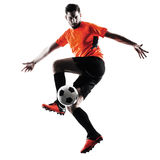Silhouette d'isolement par homme de footballeur Photos stock