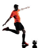 Silhouette d'isolement par homme de footballeur Photo libre de droits