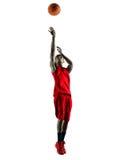 Silhouette d'isolement par joueur de basket d'homme Photos libres de droits