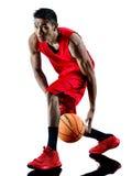 Silhouette d'isolement par joueur de basket d'homme Photographie stock libre de droits
